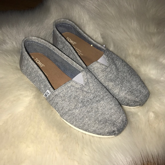 Gray Classic Felt Slip On Flats Size